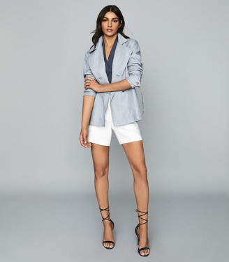 Reiss ARTA LINEN JACKET Pale Blue