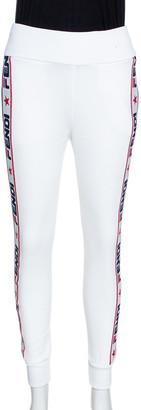 Fendi White Knit Logo Stripe Detail Track Pants XS