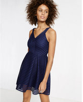 Express black mesh v-neck pleated fit and flare dress
