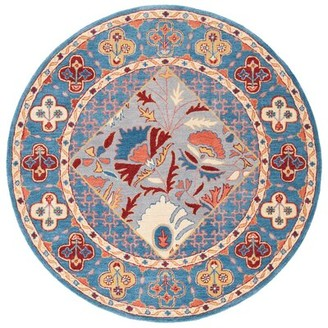Three Posts Ashville Hand-Tufted Wool/Cotton Blue/Red Area Rug Rug Size: Round 6'