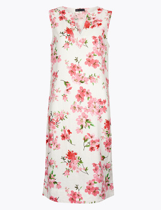 Marks and Spencer Linen Floral V-Neck Knee Length Shift Dress