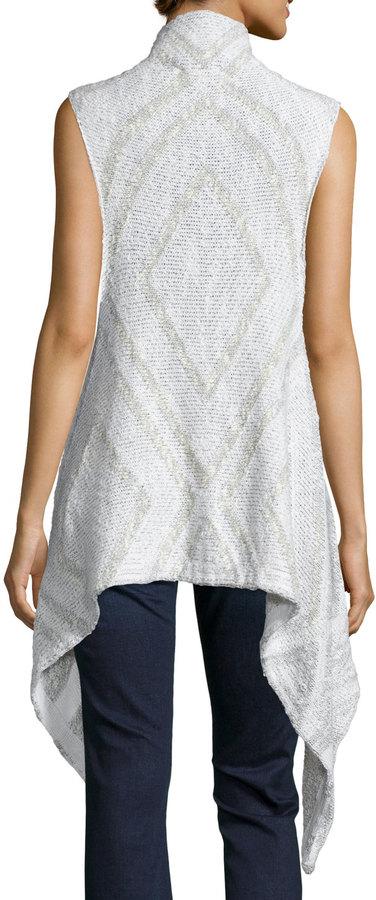 Line Flint Sleeveless Open-Front Sweater, Whitewater/Chalk