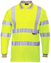 Forever Mens Long Full Sleeve Polo Collar T-shirt Hi Viz Reflective Workwear Safety Top