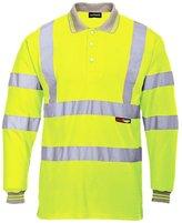 Forever Mens Long Full Sleeve Polo Collar T-shirt Hi Viz Reflective Workwear Top
