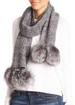 Portolano Cashmere & Fox Fur Pom-Pom Scarf