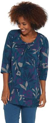 Denim & Co. Active Printed French Terry Scoop-Neck 3/4- Sleeve Tunic