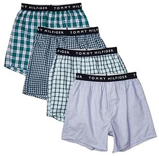 Tommy Hilfiger Cotton Classics 4-Pack Woven Boxer (Aquamarine/Navy Blazer/Light Blue/Shady Glade) Men's Underwear