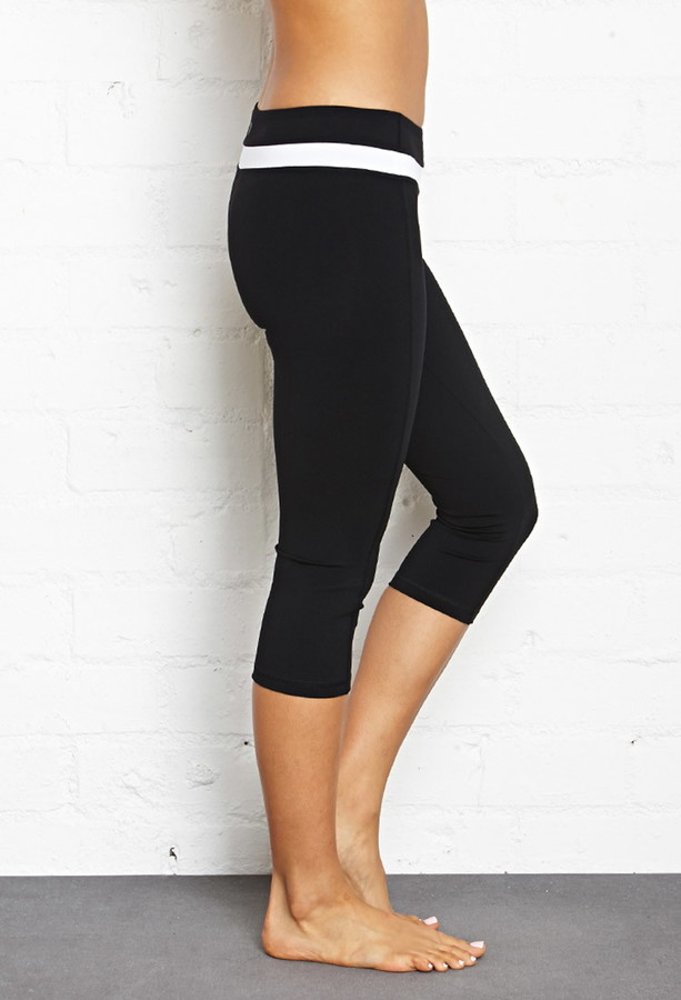 Forever 21 active contrast band yoga capris