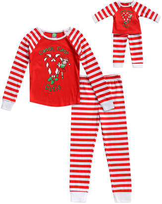 Dollie & Me Girls' Sleep Bottoms RD/WH - Red & White 'Candy Cane Cutie' Pajama & Doll Outfit Set - Toddler & Girls