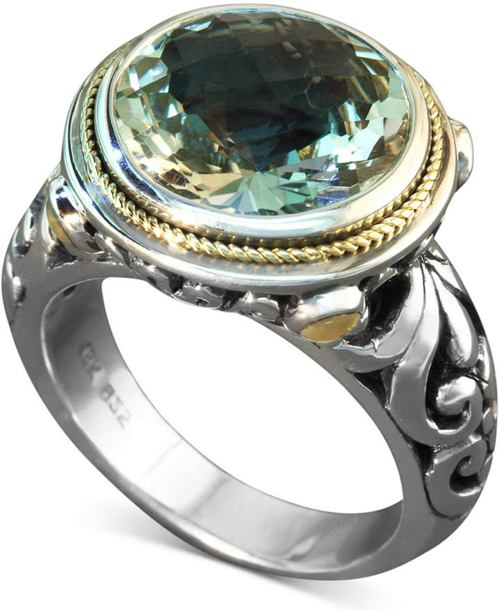 Effy Balissima by Green Quartz Round Ring (5 ct. t.w.) in Sterling Silver and 18k Gold