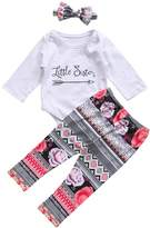Imcute Baby Girls Clothes Set Arrow Romper Tshirt Top+Floral Print Pants+Headband 3pcs Outfit