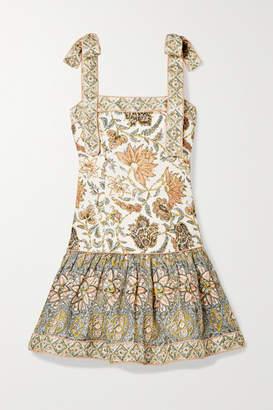 Zimmermann Edie Ruffled Printed Linen Mini Dress - Off-white