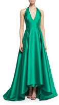 Badgley Mischka Satin Halter Ball Gown, Emerald