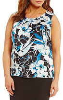 Kasper Plus Abstract Floral-Print Keyhole Cami