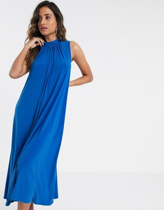 Closet London voluminous trapeze dress in blue