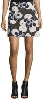 Suno Floral A-Line Mini Skirt, Brown