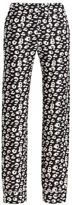 Brandon Maxwell Animal-Print Silk Pajama Pants