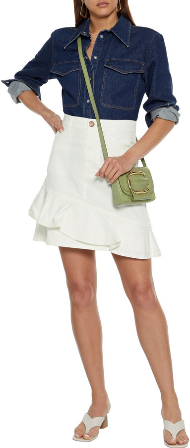Thumbnail for your product : See by Chloe Ruffled Cotton-blend Twill Mini Skirt