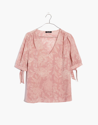 Madewell Silk V-Neck Tie-Sleeve Top in Pindot Blooms