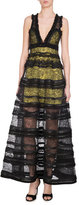 Givenchy Sleeveless V-Neck Tiered Lace Gown, Black/Yellow