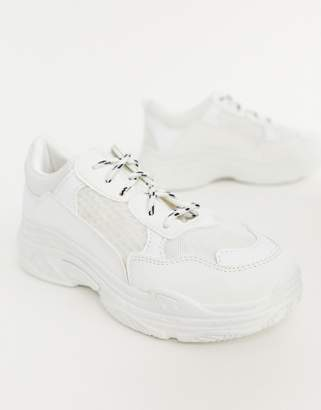 Public Desire Fiyah white chunky trainers
