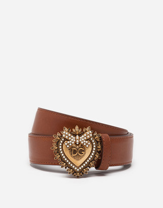 Dolce & Gabbana Devotion Belt In Polished Cowhide