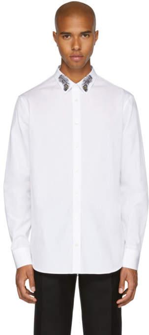 Alexander McQueen White Peacock Feather Collar Shirt