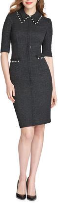 Rickie Freeman For Teri Jon Pearl Trim Elbow-Sleeve Shirt Collar Boucle Dress