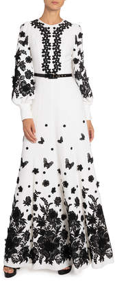 Andrew Gn Floral Applique Zip-Neck Gown