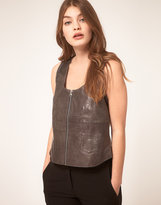 Crop Leather Tank With Jersey Back