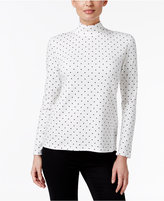 Karen Scott Petite Dot Printed Mock-Neck Top, Only at Macy's