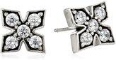 King Baby Studio Medium Mb Cross Post with Cubic Zirconia Stones Stud Earrings