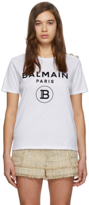 Balmain White 3-Button Flocked Logo T-Shirt