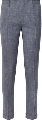 Paul Smith Navy Soho Slim-Fit Tapered Puppytooth Wool, Silk And Linen-Blend Suit Trousers