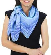 Thai Blue and Green Square 100% Silk Hand Dyed Scarf, 'Blue Plaid'