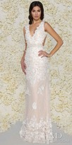 Mac Duggal Open Back Lace Floral Applique Evening Gown