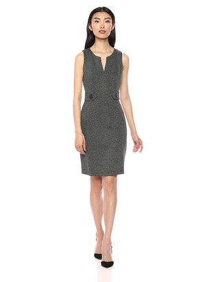 Lark & Ro Women's Sleeveless V-Neck Button-Waist Sheath Dress