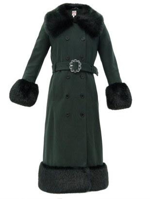 Shrimps River Faux Fur-trimmed Recycled Wool-blend Coat - Green
