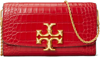 Tory Burch Eleanor Crocodile-Embossed Clutch Bag