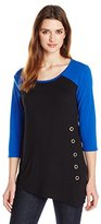 NY Collection Women's 3/4 Sleeve Color Block Top