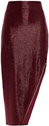 Mason by Michelle Mason Asymmetric Crystal-embellished Metallic Stretch-knit Skirt
