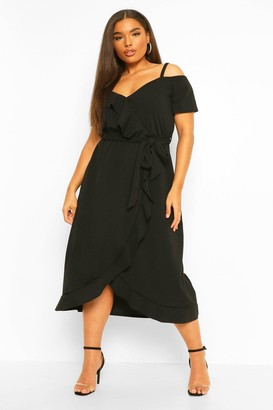 boohoo Plus Plunge Ruffle Belt Wrap Dress