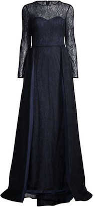 Mac Duggal Long-Sleeve Bugle Bead Lace A-Line Gown