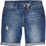 River Island Mid Wash Denim Distressed Slim Shorts