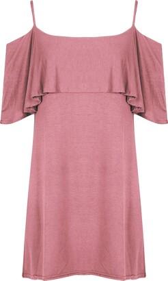 Fashion Star Womens Pom Pom Cold Shoulder Bell Sleeve Strappy Hanky Hem Swing Dress Cerise