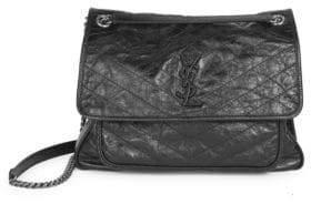 Saint Laurent Large Niki Chain Crinkle Leather Shoulder Bag