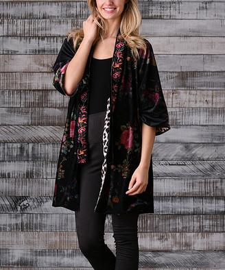 Paparazzi Women's Non-Denim Casual Jackets BLACK - Black & Pink Floral Velvet Kimono - Women