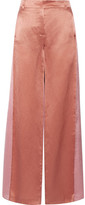 Valentino Two-tone Hammered-satin Wide-leg Pants - Copper