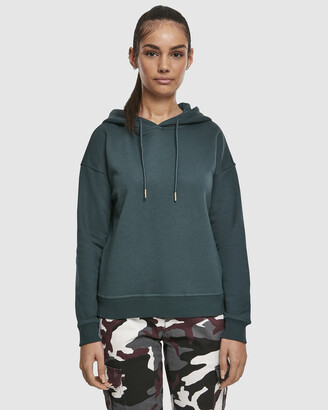 Urban Classics Women's Green Jumpers - UC Ladies Casual Sweat Hoody - Size One Size, XS at The Iconic
