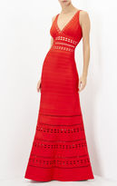 Herve Leger Kaiya Embroidered Englese Cutout Gown